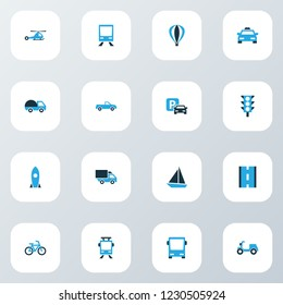 Transportation icons colored set with pickup, moped, camion and other parking elements. Isolated  illustration transportation icons.