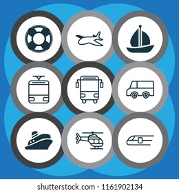 Transportation icons set with tram, school bus, shipping tour and other flight vehicle elements. Isolated  illustration transportation icons.