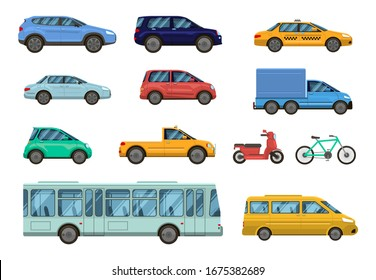 Transportation vehicle. Public cars, taxi, city bus and motorcycle, bike. Road urban public transport, car side view collection  isolated set