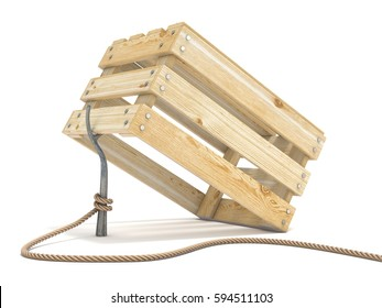 Trap made of wooden crate and rope tide to stick 3D render illustration isolated on white background