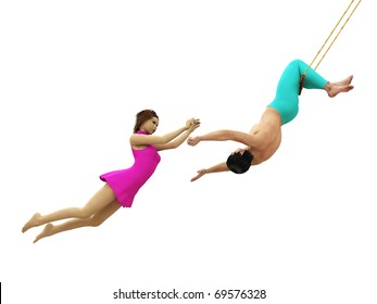 Trapeze artists in flight isolated