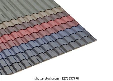 Trapezoidal metal sheet, 3D illustration