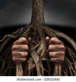 Trapped concept and mental prison symbol as a person caged and imprisoned by the slow growing tree roots as a metaphor for chronic ingrained suffering due to an addiction or psychological illness.