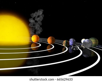 TRAPPIST-1 planetary system. 3D Rendering. Exoplanets.