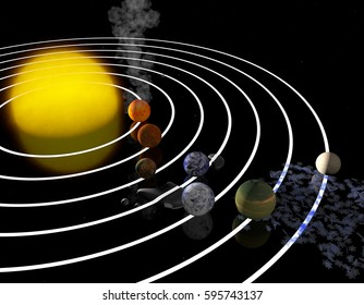 TRAPPIST-1 planetary system. Artist's impression. Seven temperate terrestrial planets. 3D Rendering. Exoplanets