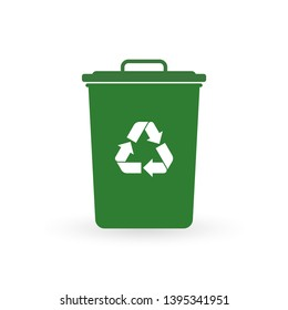 Trash can icon with recycle sign. Garbage bin or basket with recycling symbol.