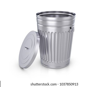 Trash can on a white background. 3D illustration.