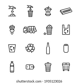 Trash Garbage Related Black Thin Line Icon Set Include of Lamp, Bag and Glass Bottle. illustration of Icons