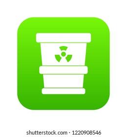 Trashcan containing radioactive waste icon digital green for any design isolated on white illustration