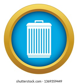 Trashcan icon blue isolated on white background for any design