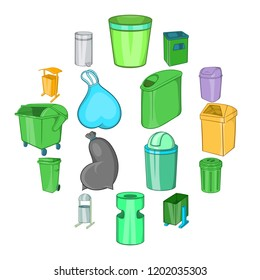 Trashcan icons in cartoon style. Garbage box set collection isolated illustration