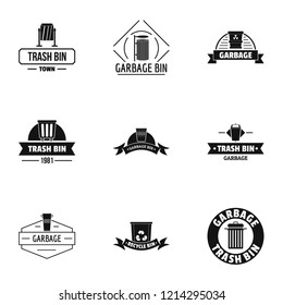 Trashcan logo set. Simple set of 9 trashcan logo for web isolated on white background