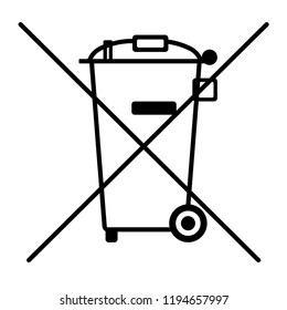 Trashcan recycle icon on white background, Do not litter