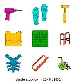 Traumatology tool icon set. Color outline set of traumatology tool icons for web design isolated on white background