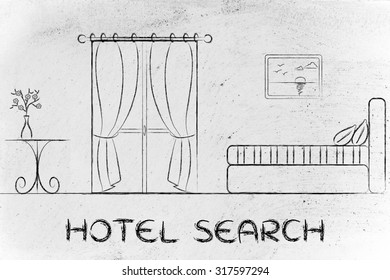 travel and accommodation industry: concept of hotel search illustration of room interior