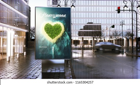 travel advertising billboard mockup on city downtown. 3d Rendering.