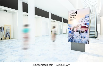 travel advertising on shopping mall 3d rendering. Some elements furnished by NASA.
