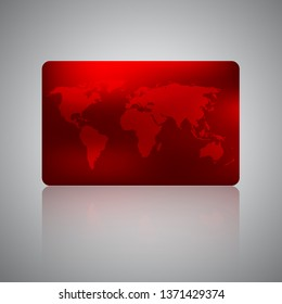 Travel agency business card. Gift card, discount or credit card with world map on red background. Electronics shop, techno store discount voucher, coupon or gift card design