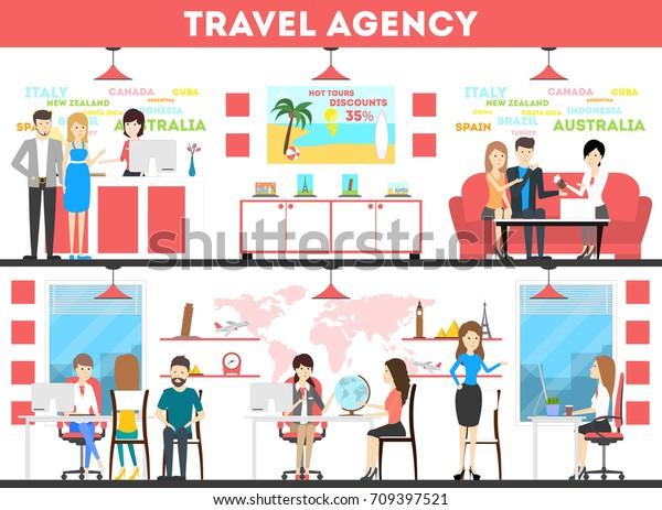 Travel Agency Interior Set Agents Visitors Stock