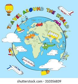 Travel around the world concept color sketch with balloon aerostat car bicycle and helicopter abstract  illustration