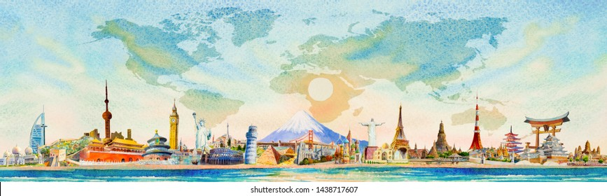 Travel around the world and sights. Famous landmarks of the worlds grouped together. Watercolor landscape painting illustration on world map with sun, sky, blue background, popular tourist attraction.