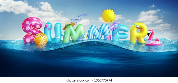 Travel backgrounds. Summer 3d rendered banner with 3D text and colorful balls, fishes, flamingo and the sun in blue sky and sea background for summer season holiday.