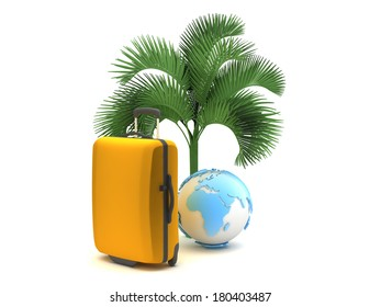 Travel bag and earth globe under a palm tree