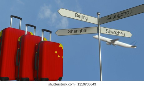 Travel baggage featuring flag of China, airplane and city sign post. Chinese tourism conceptual 3D rendering
