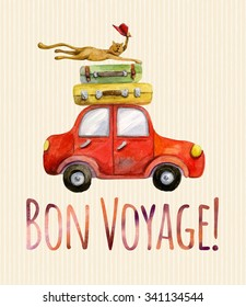 Travel banner. Watercolor funny cartoon colorful poster. Illustration with red car, baggage and happy bye-bye cat with red hat. Bon Voyage lettering.