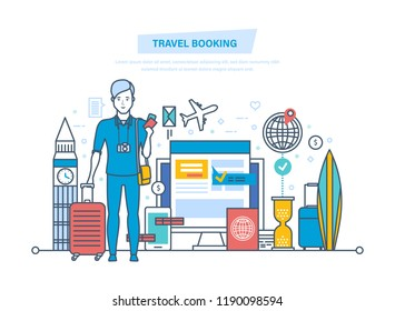 Travel booking concept. Hotel reservation, ticket purchase, entry in database, customer service, registration. Holding vacation, trip to Europe, and holidays, relaxing. Illustration thin line design