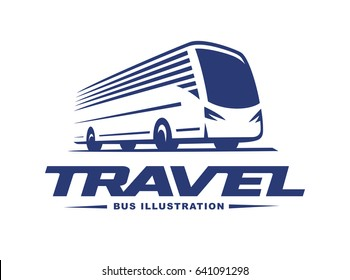 Travel bus illustration, logo on light background