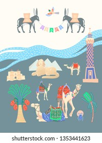 travel card about Egypt, great famous egyptian places in Giza, raster version illustration