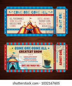 Travel circus retro entry tickets 2 banners set with with magic show striped tent isolated  illustration
