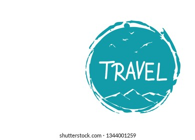travel concept - travel icon with mountains and birds