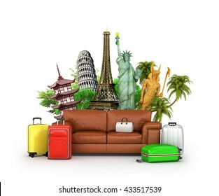 Travel concept. Leather sofa, suitcase and world-famous attractions on white background. Wallpaper. 3d illustration