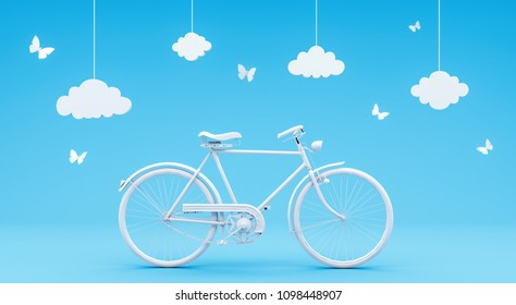 travel concept on blue background 3D rendering