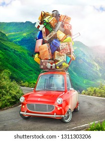 Travel concept. Red vintage car with travel suitcases on the roof. 3d illustration