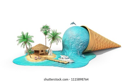 Travel concept. Relaxation island in the sea as melting ice cream isolation on a white. 3d illustration