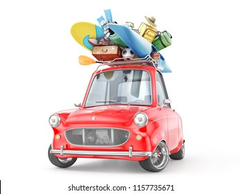 Travel concept. Retro car full of things for rest isolation on a white. 3d illustration