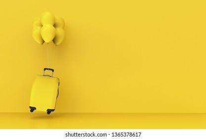 Travel concept suitcase balloon - 3d illustration