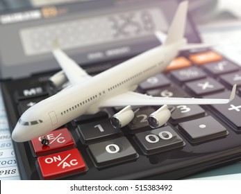 Travel cost calculation concept. Airplane and calculator. Cheapest flight. 3d illustration