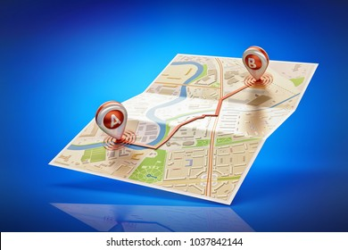 Travel destination, cartography and navigation concept, paper city map with a route between two red pin markers on blue background, 3d illustration