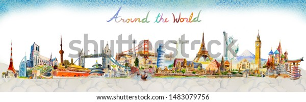Travel Famous landmarks in the world of Europe, Asia and America. Watercolor landscape painting illustration with group cloud background. Popular tourist attraction with advertising, poster, postcard.