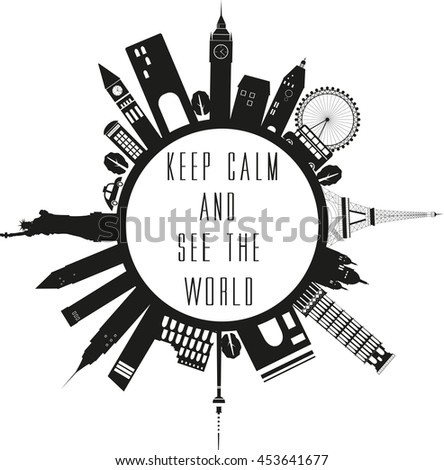 Royalty Free Stock Illustration Of Travel Globe Black White Quote