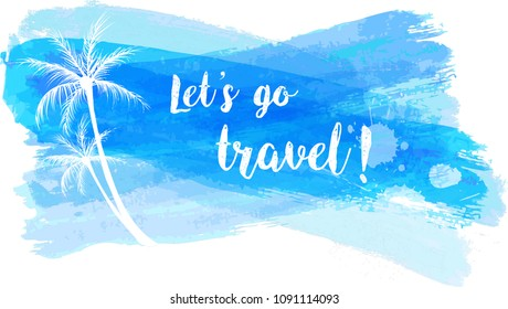 Travel grunge banner with palm trees in blue color