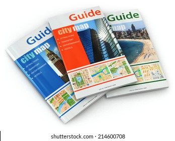 Travel Guide Books On White Isolated Background 3d