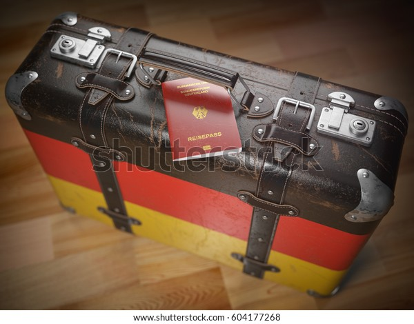 Travel or immigration concept. Passport of Germany and suitcase with flag of Germany 3d illustration