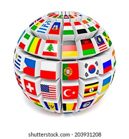 World flags on globe usa great stock illustration 609142271 travel and international business concept 3d globe sphere with flags of the world on white freerunsca Image collections