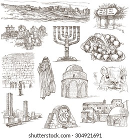 Travel, ISRAEL - Collection of an hand drawn illustrations. Description: Full sized hand drawn illustrations (freehand sketches). Drawing on white background.