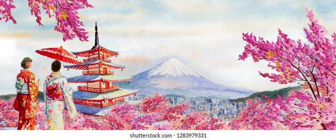 Travel of Japan - Famous landmarks of the world and Asian woman wearing japanese traditional kimono with umbrella. Watercolor painting illustration in sky space background, popular tourist attraction.